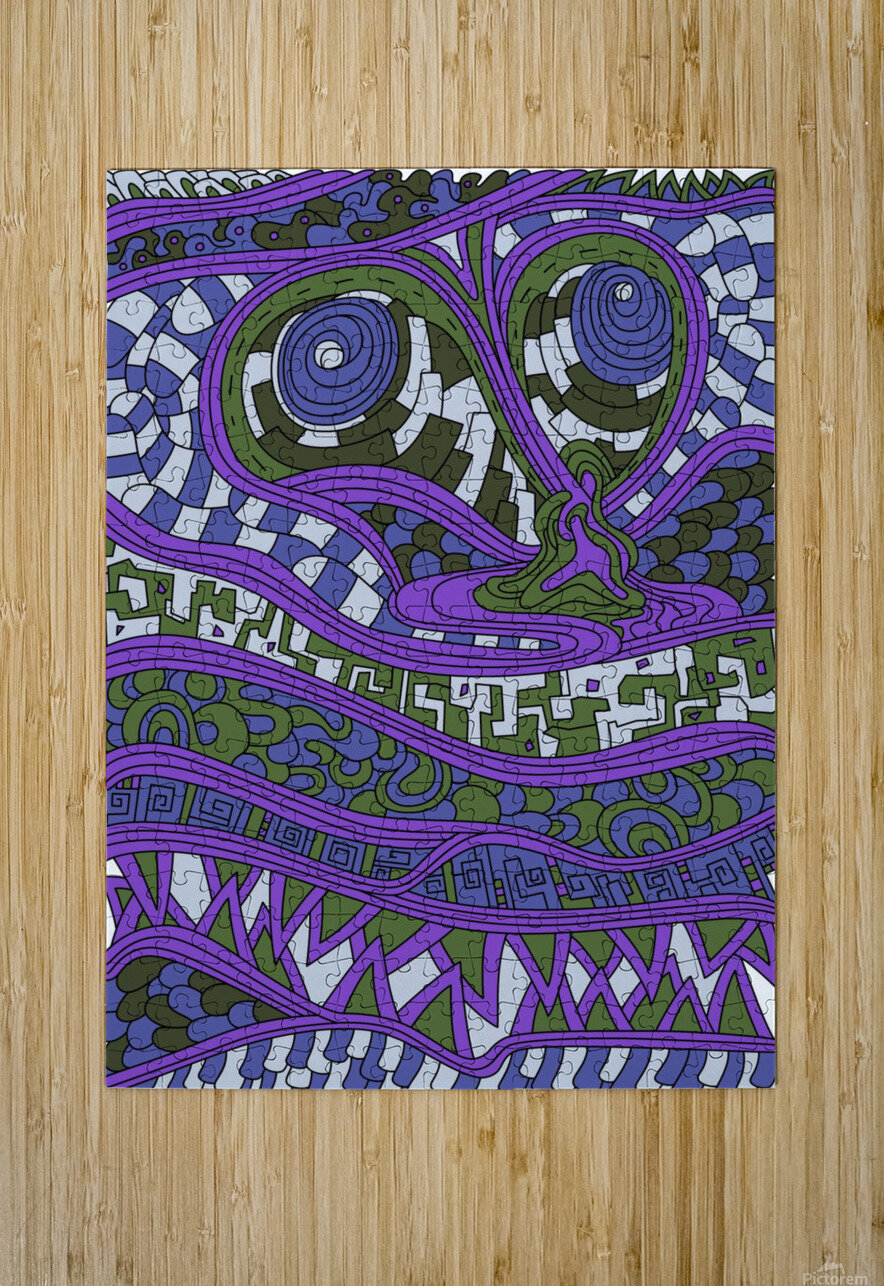 Wandering Abstract Line Art 03: Purple  HD Metal print with Floating Frame on Back