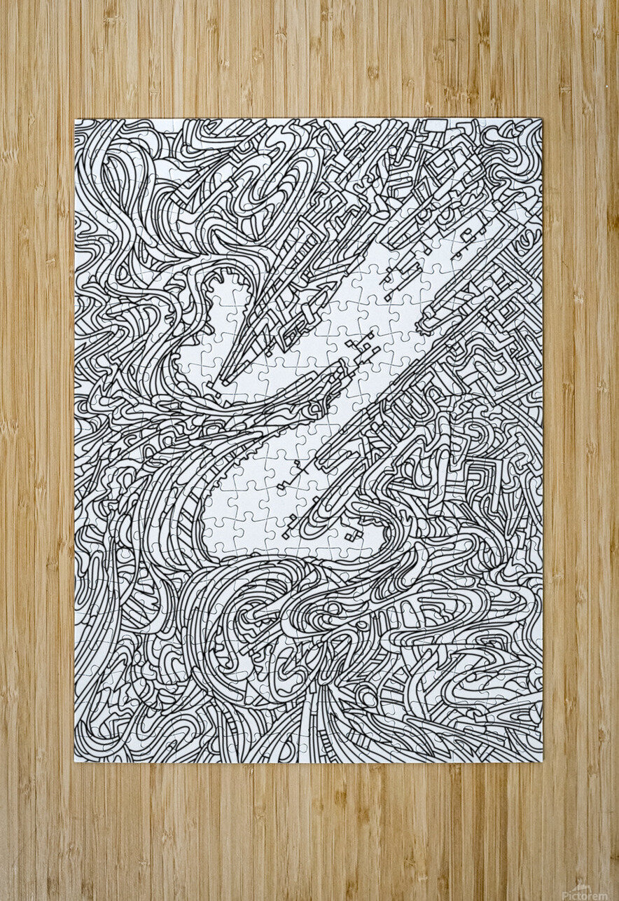 Wandering Abstract Line Art 05: Black & White  HD Metal print with Floating Frame on Back