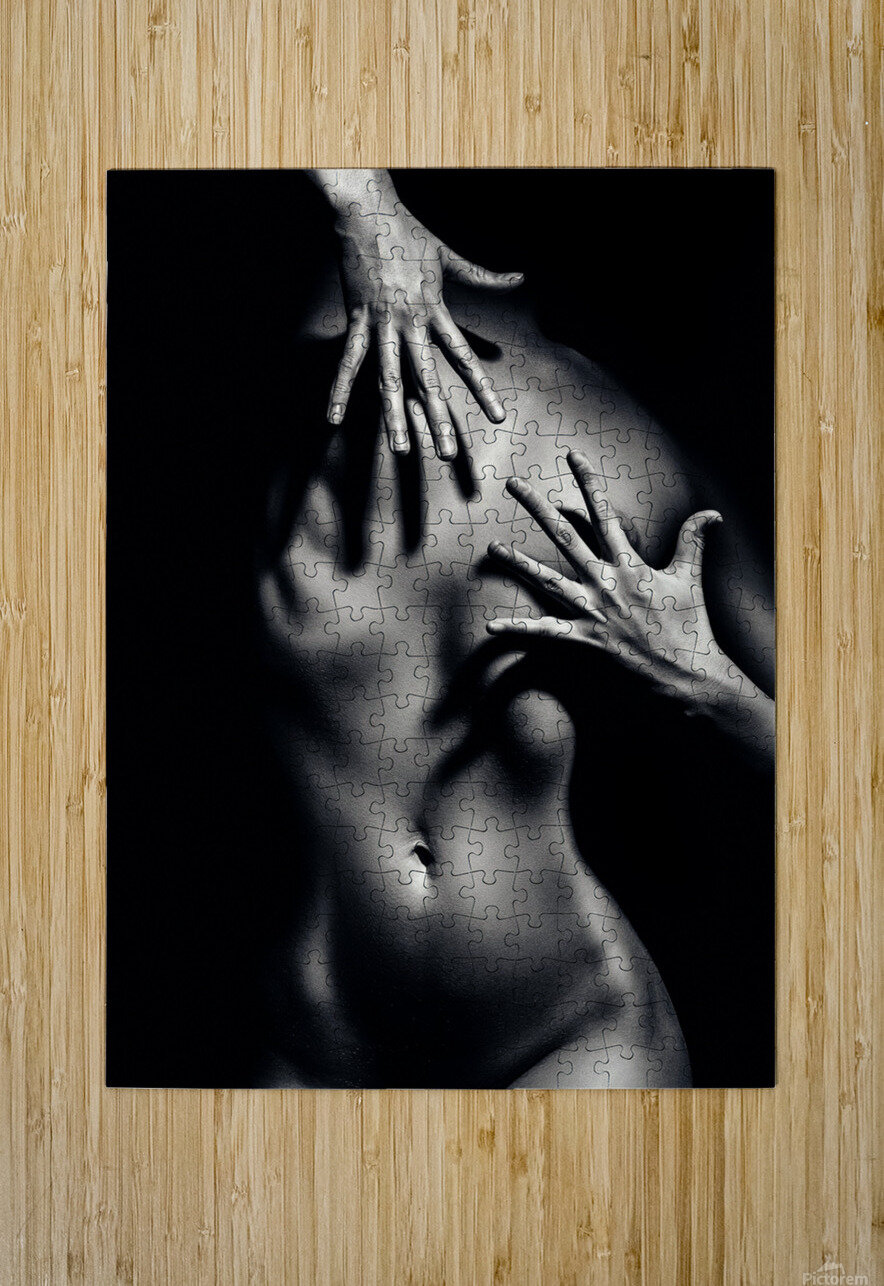 Nude woman fine art 10  HD Metal print with Floating Frame on Back