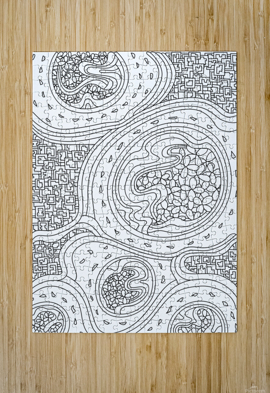 Wandering Abstract Line Art 06: Black & White  HD Metal print with Floating Frame on Back