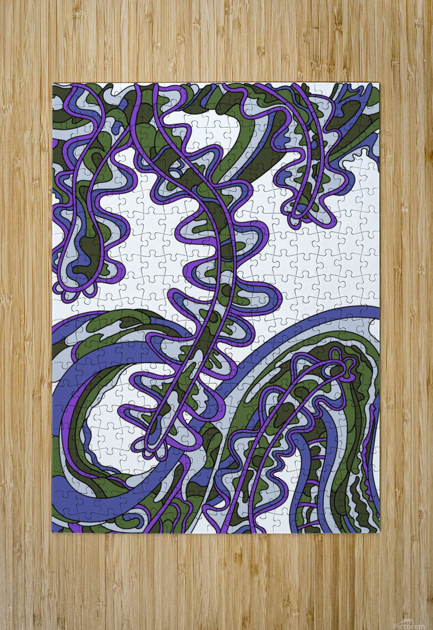 Wandering Abstract Line Art 07: Purple  HD Metal print with Floating Frame on Back