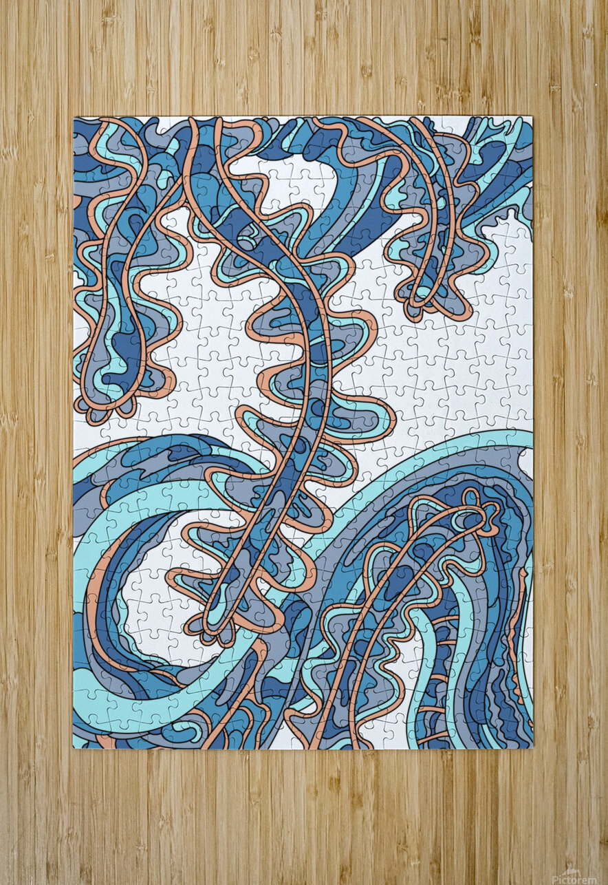 Wandering Abstract Line Art 07: Blue  HD Metal print with Floating Frame on Back