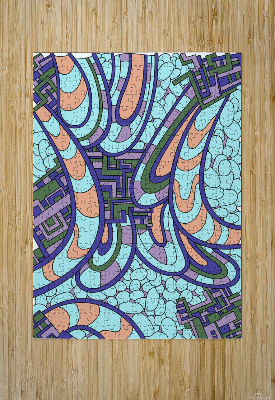 Wandering Abstract Line Art 09:   HD Metal print with Floating Frame on Back