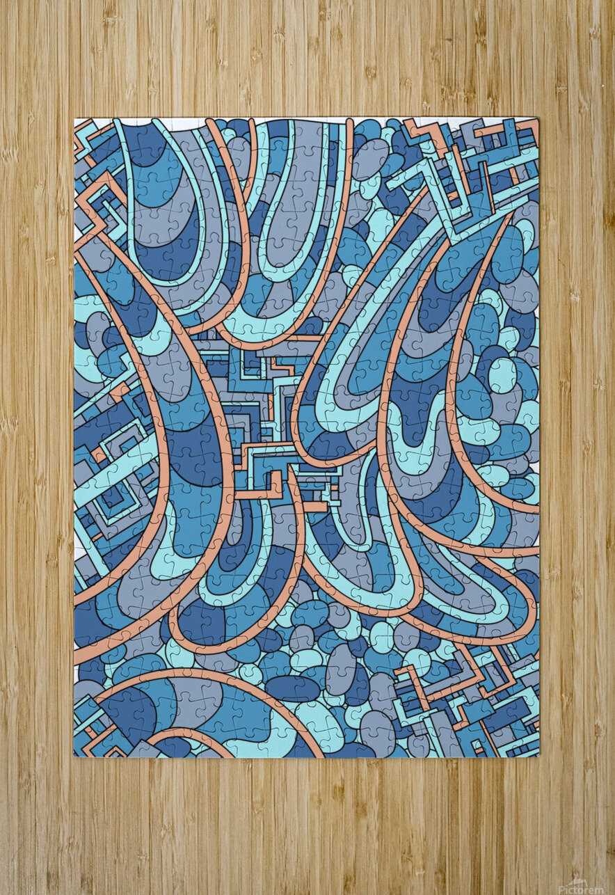 Wandering Abstract Line Art 09: Blue  HD Metal print with Floating Frame on Back