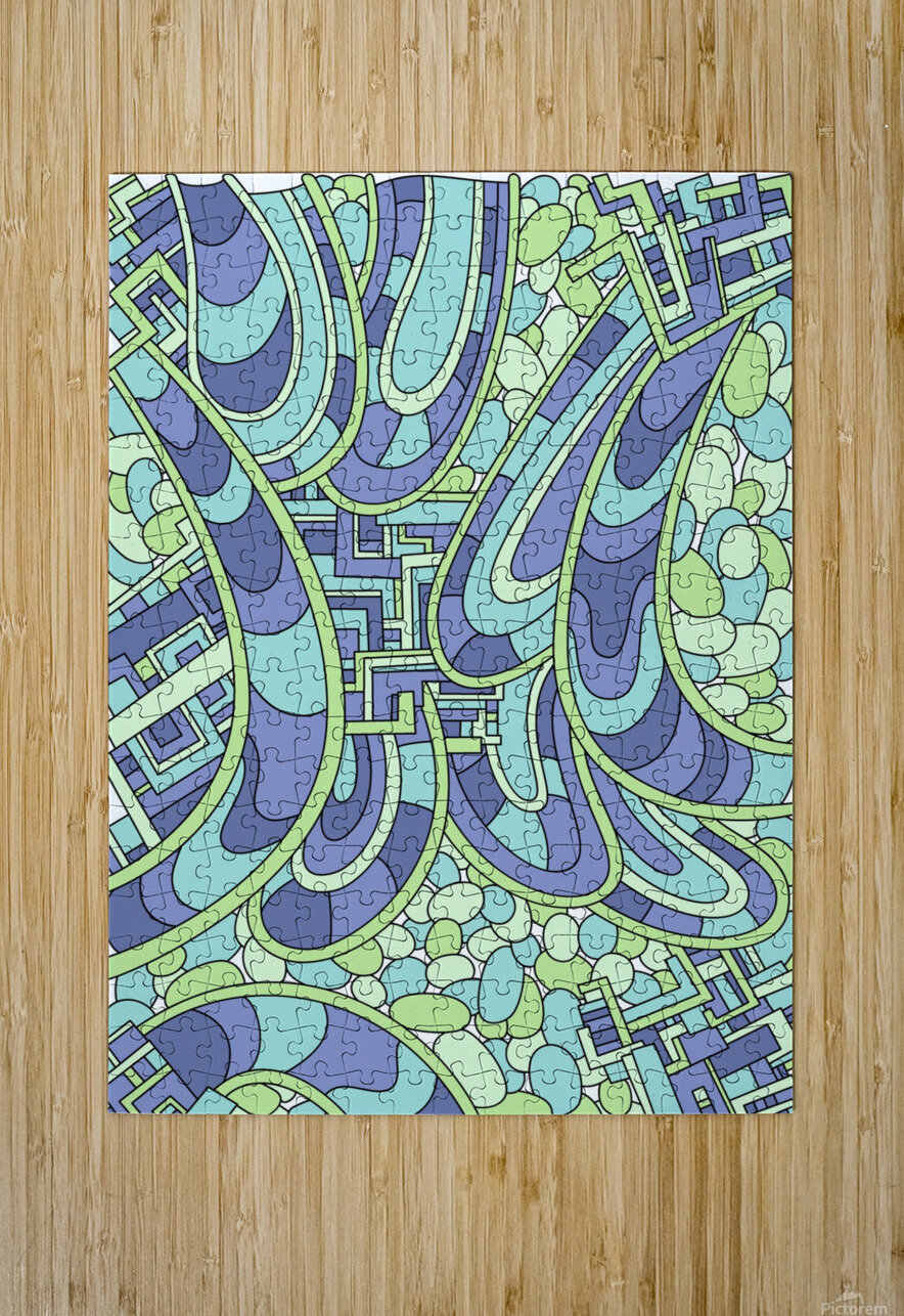 Wandering Abstract Line Art 09: Green  HD Metal print with Floating Frame on Back