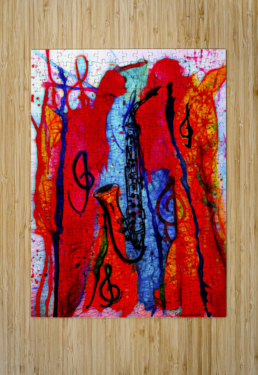 Saxophone Electrified  HD Metal print with Floating Frame on Back