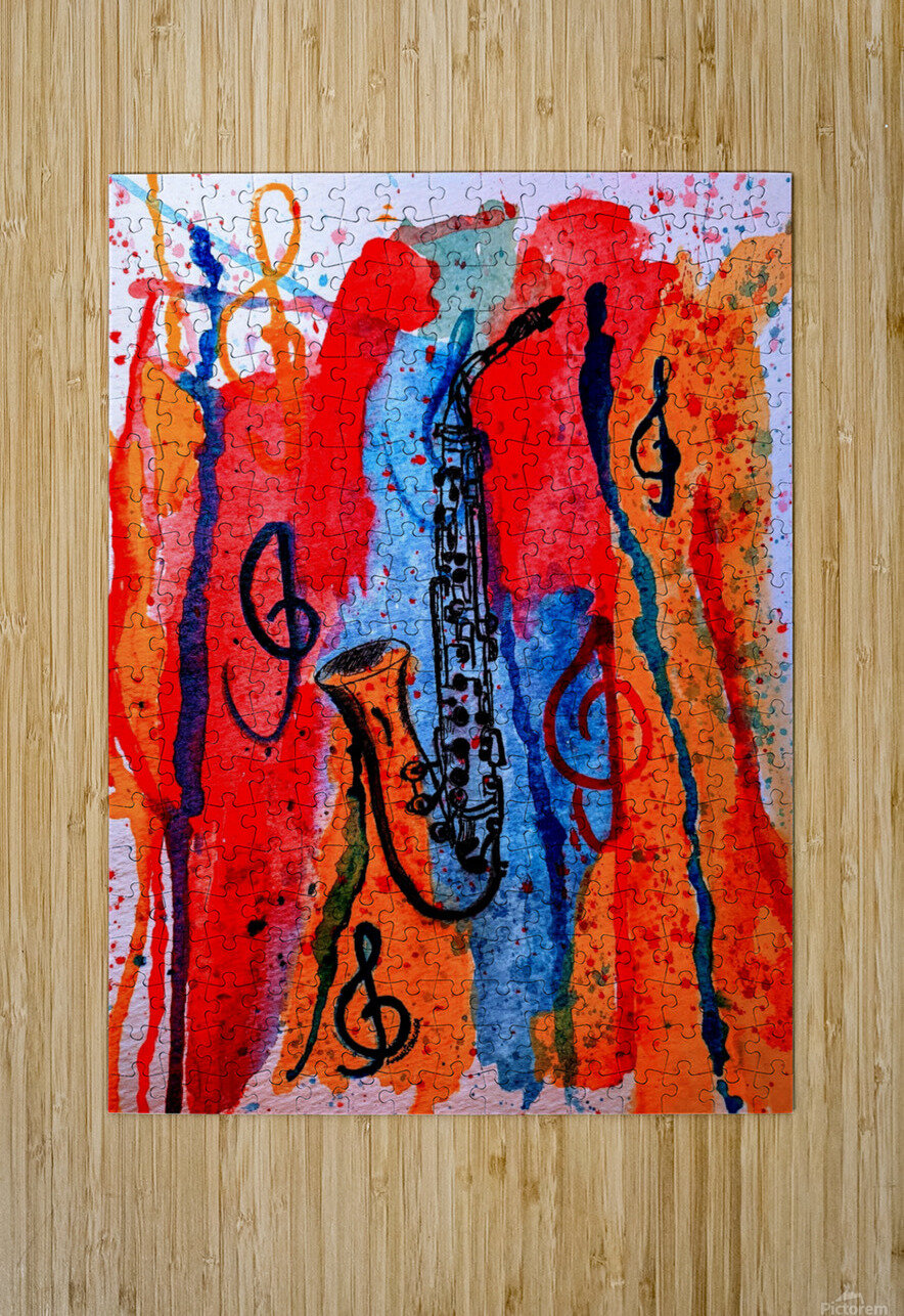 Saxophone Watercolor  HD Metal print with Floating Frame on Back