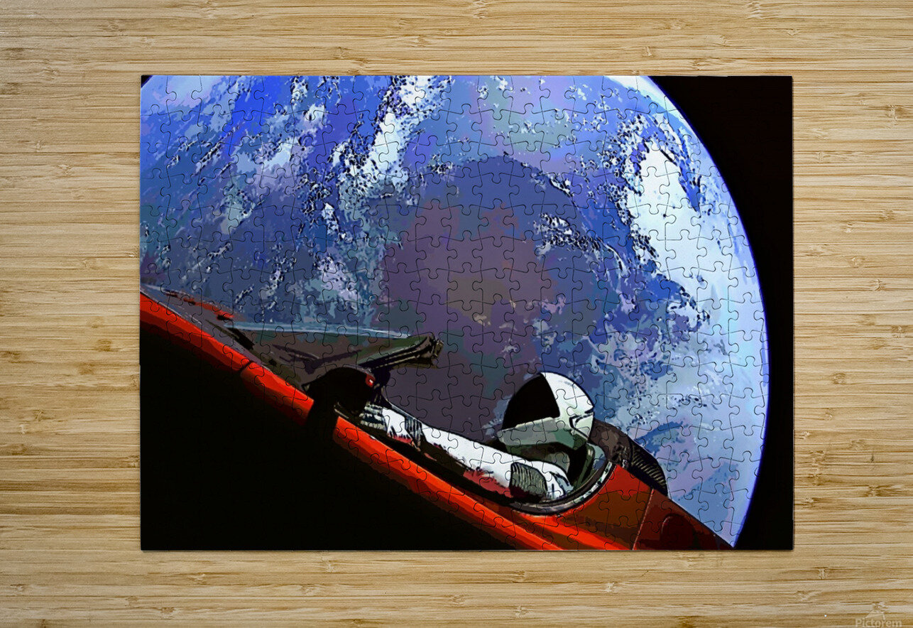 StarMan in Tesla Above Planet Earth  HD Metal print with Floating Frame on Back