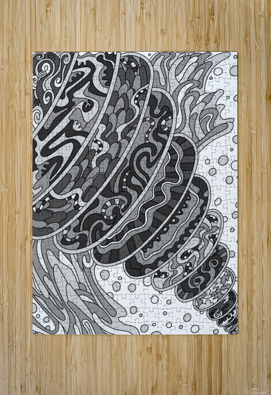 Wandering Abstract Line Art 11: Grayscale  HD Metal print with Floating Frame on Back