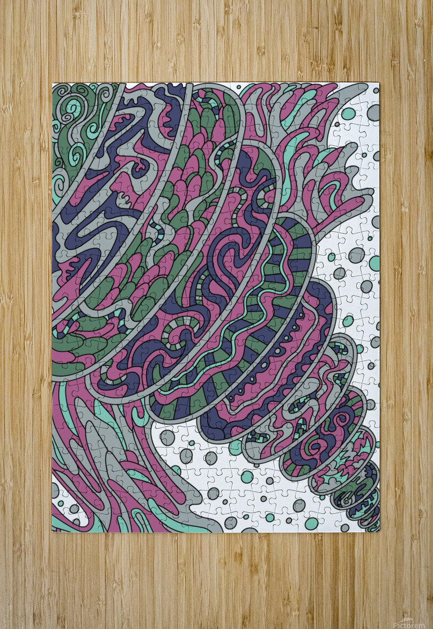 Wandering Abstract Line Art 11: Pink  HD Metal print with Floating Frame on Back