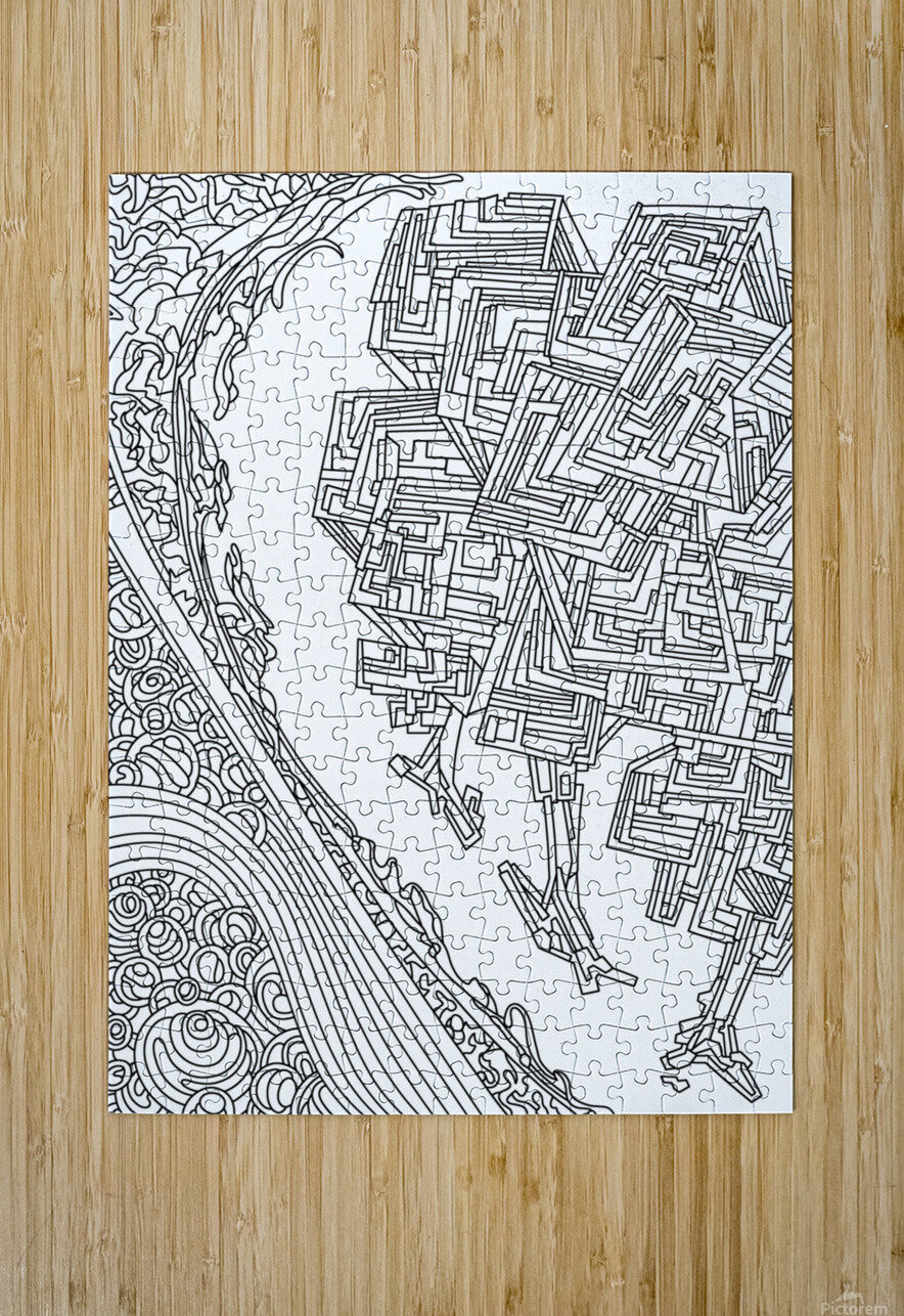 Wandering Abstract Line Art 12: Black & White  HD Metal print with Floating Frame on Back