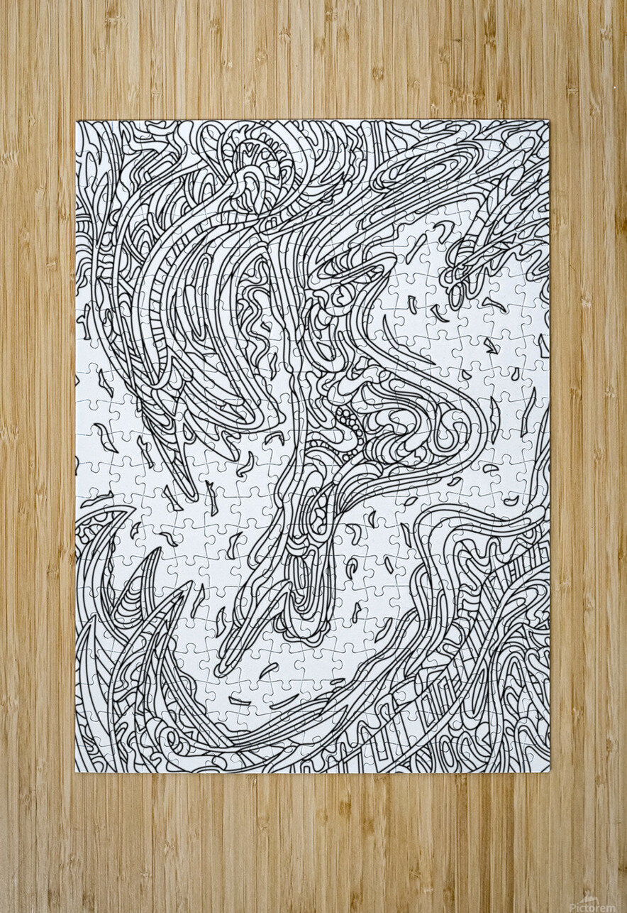 Wandering Abstract Line Art 14: Black & White  HD Metal print with Floating Frame on Back