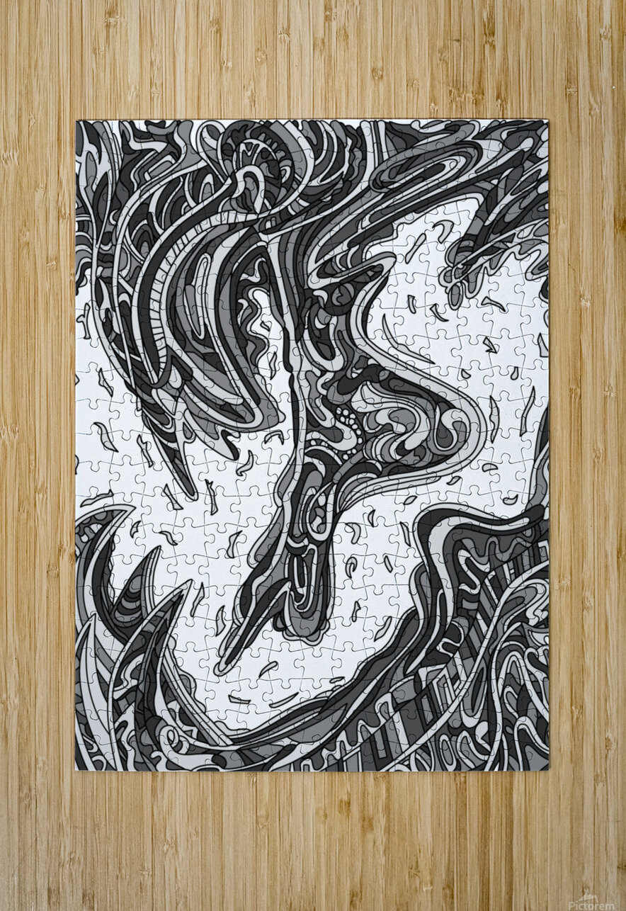 Wandering Abstract Line Art 14: Grayscale  HD Metal print with Floating Frame on Back