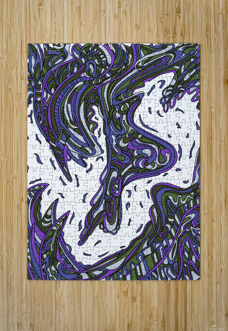 Wandering Abstract Line Art 14: Purple  HD Metal print with Floating Frame on Back