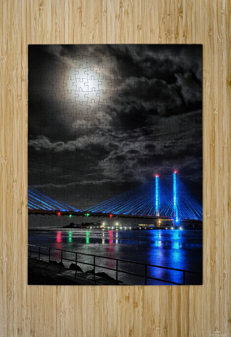 Blood Moon over the Indian River Bridge  HD Metal print with Floating Frame on Back
