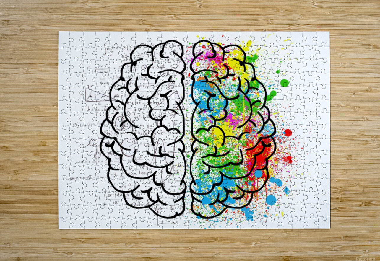 brain mind psychology idea drawing  HD Metal print with Floating Frame on Back