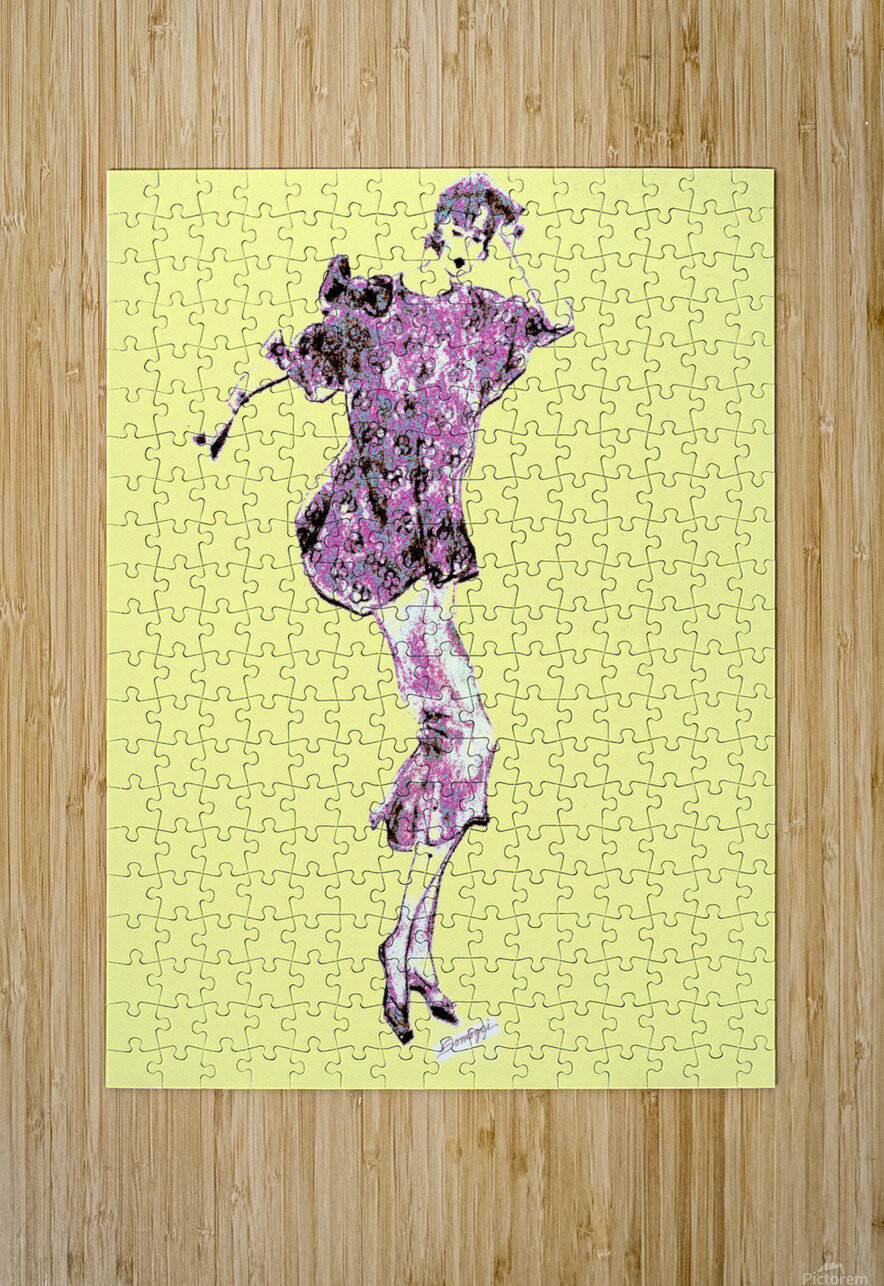 1980's Fashion on Yellow  HD Metal print with Floating Frame on Back
