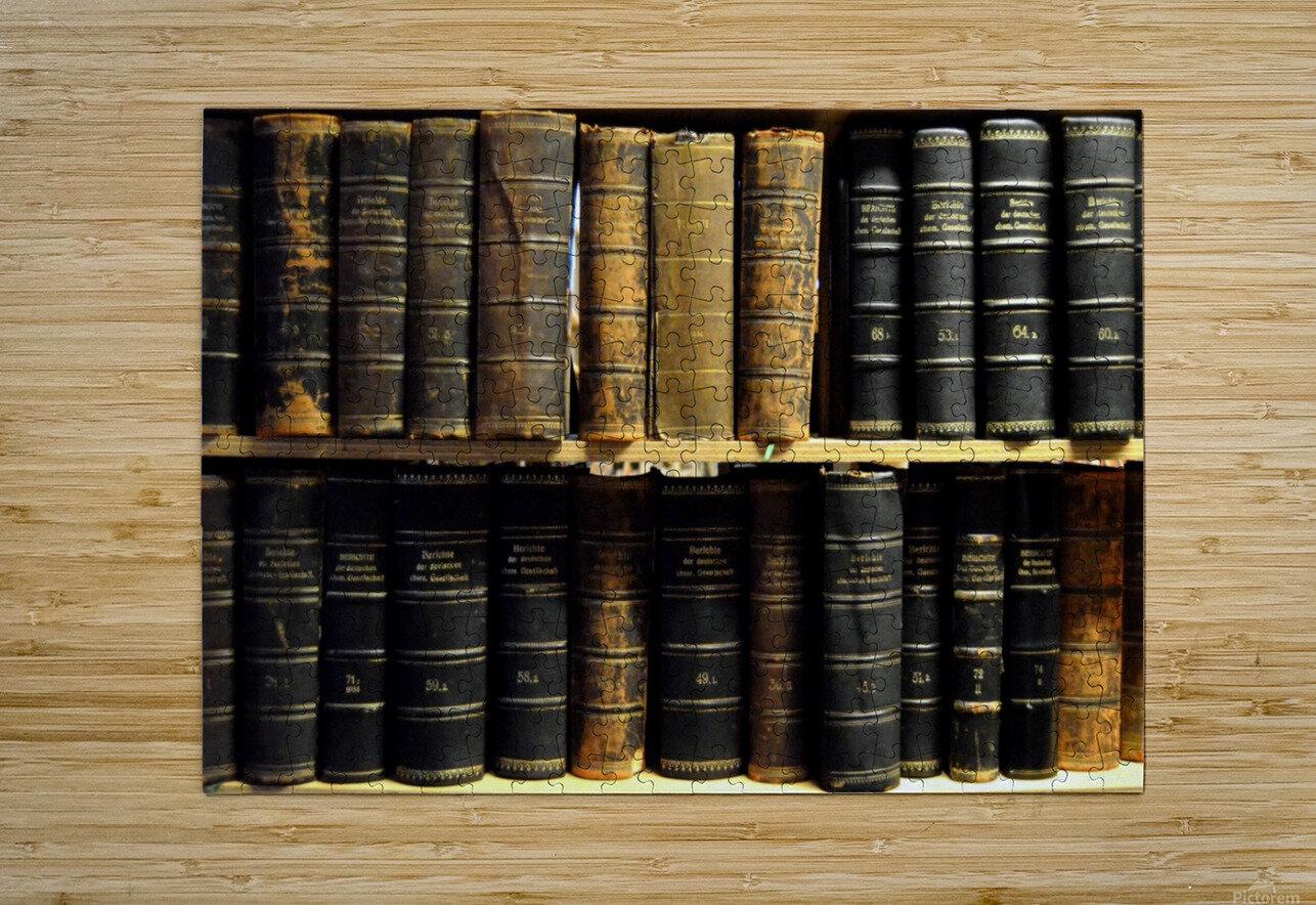 books old vintage library shelves  HD Metal print with Floating Frame on Back