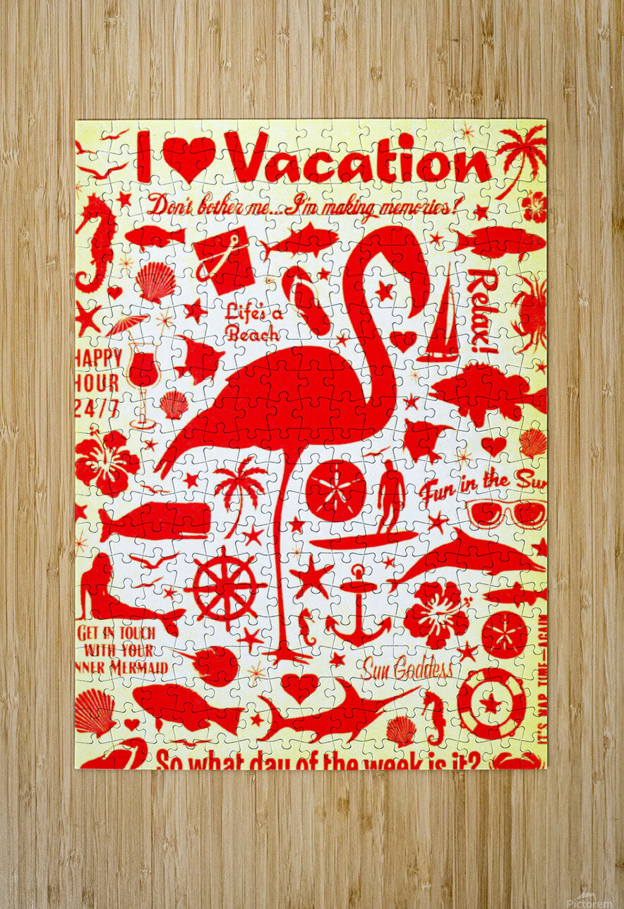 Vintage Travel - I Love Vacations  HD Metal print with Floating Frame on Back