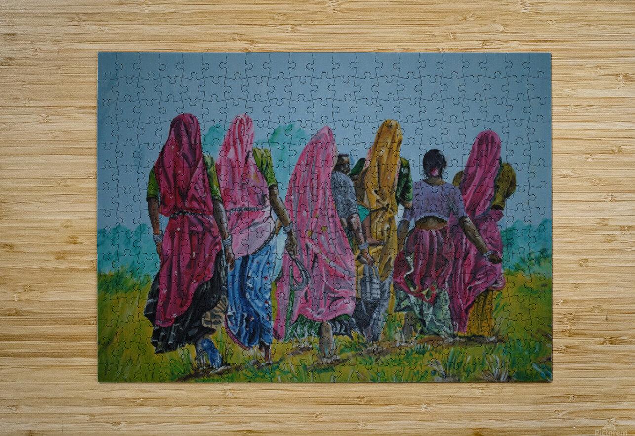 Village Women_DKS  Impression métal HD avec cadre flottant sur le dos
