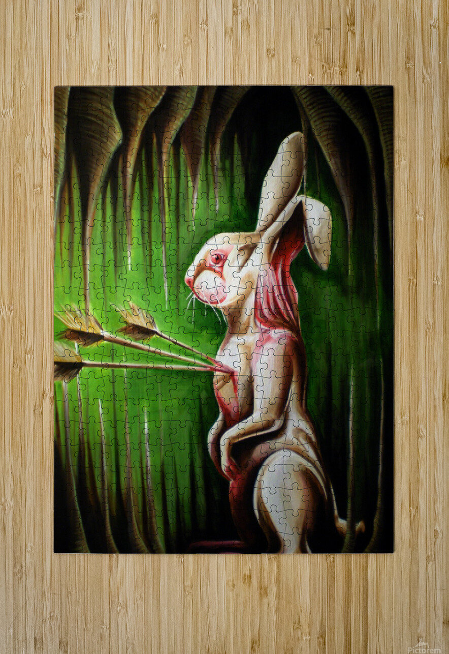 White Rabbit  Impression métal HD avec cadre flottant sur le dos