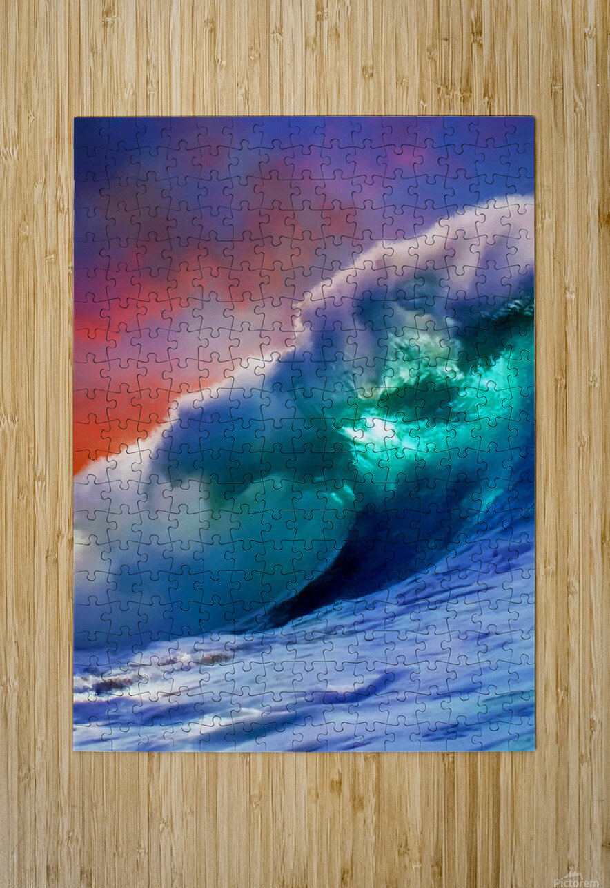 Sunset Wave  HD Metal print with Floating Frame on Back