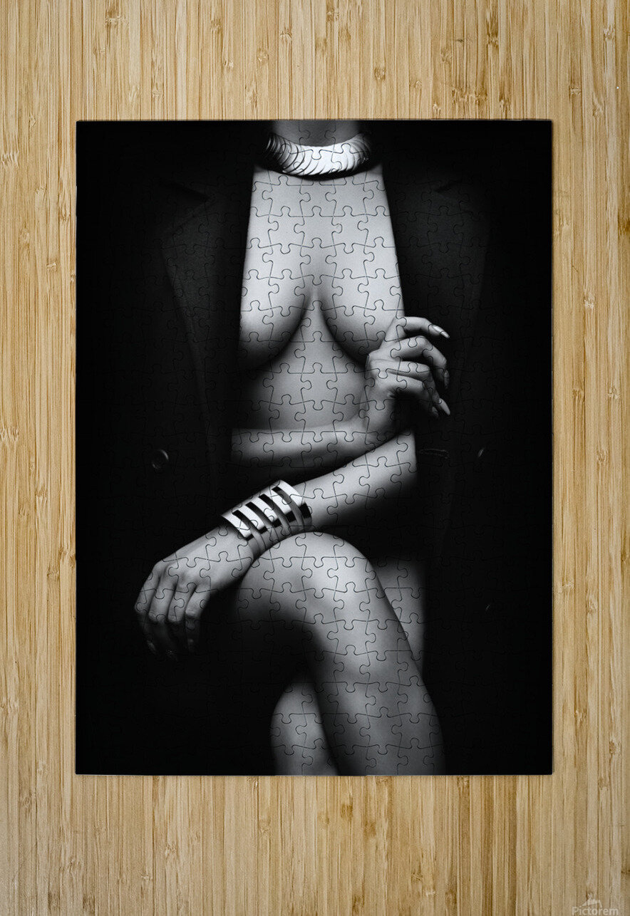 Nude Woman with jacket 1  HD Metal print with Floating Frame on Back