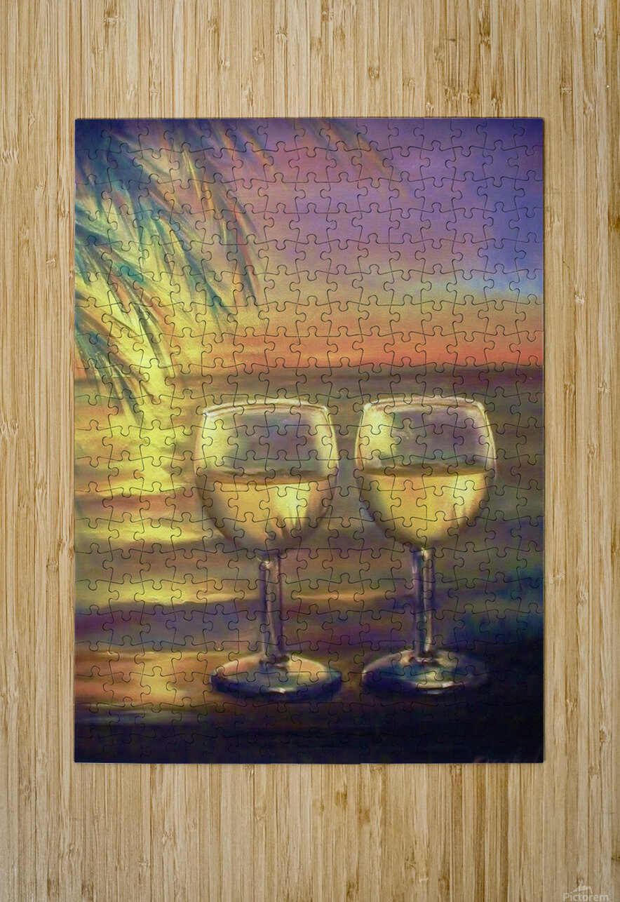 2  White Wines  HD Metal print with Floating Frame on Back