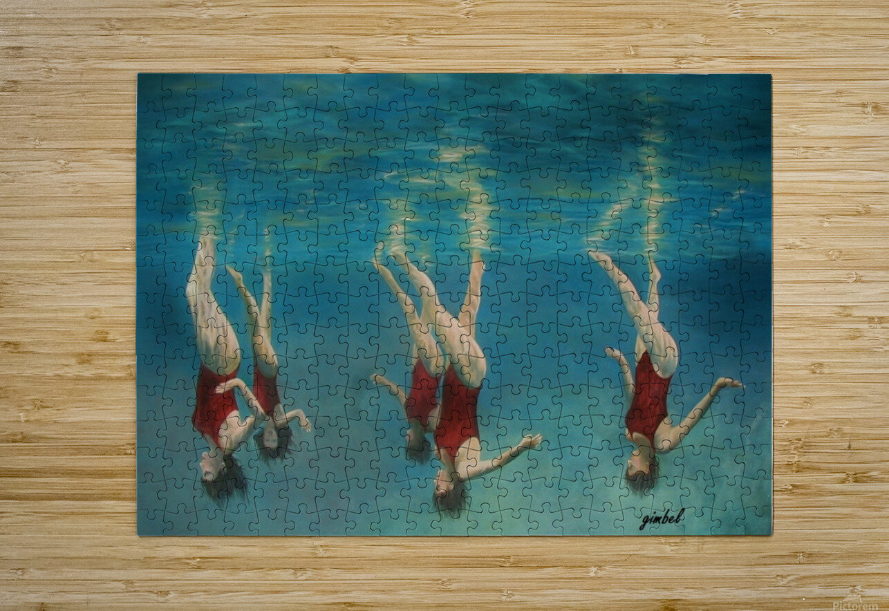 swimmers  HD Metal print with Floating Frame on Back