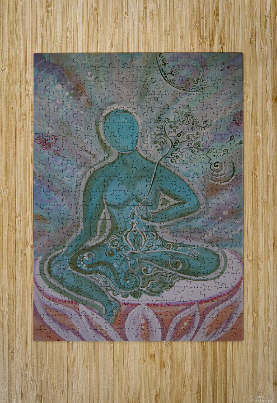 Green Buddha Tara  HD Metal print with Floating Frame on Back