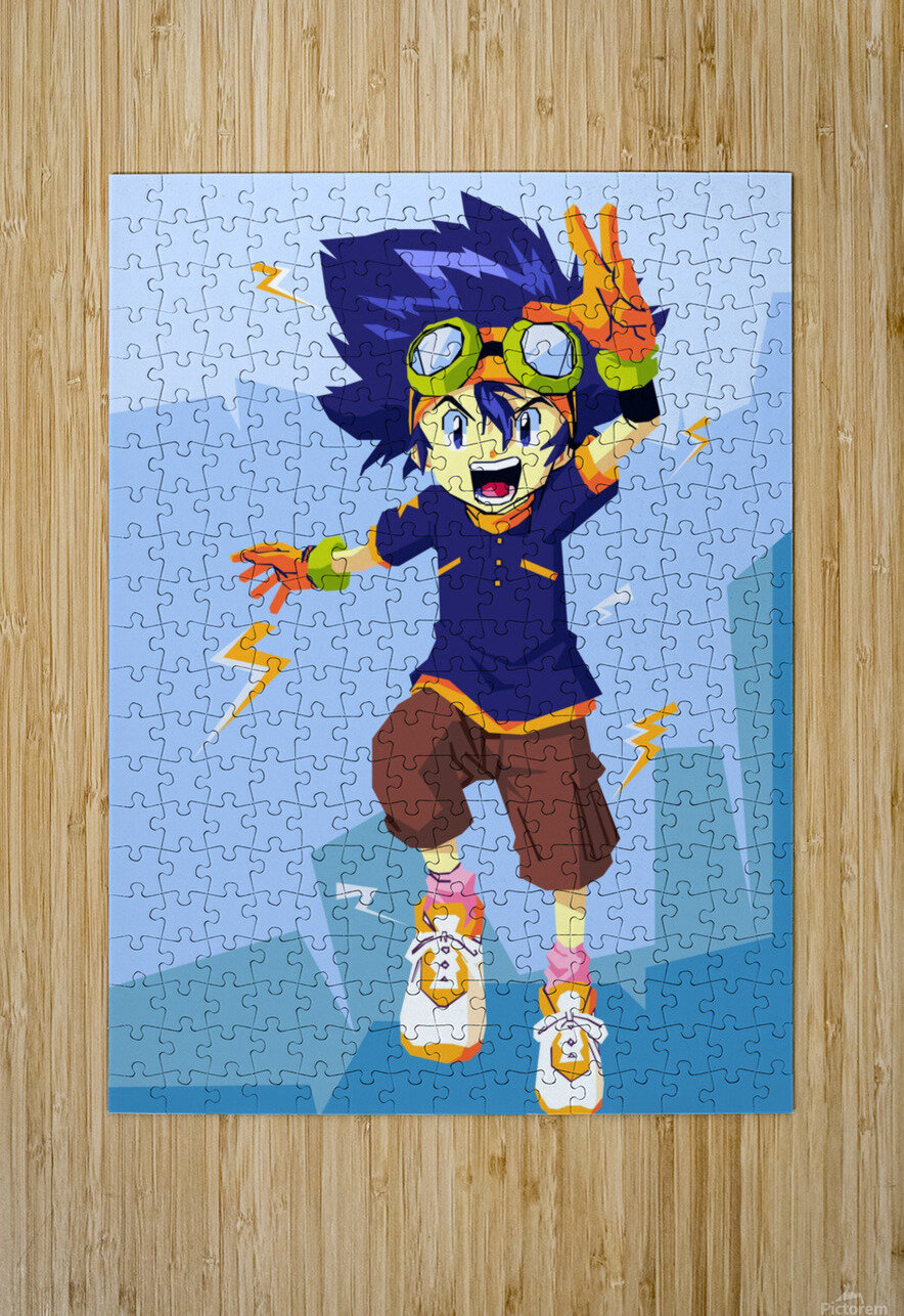 Digimon  HD Metal print with Floating Frame on Back