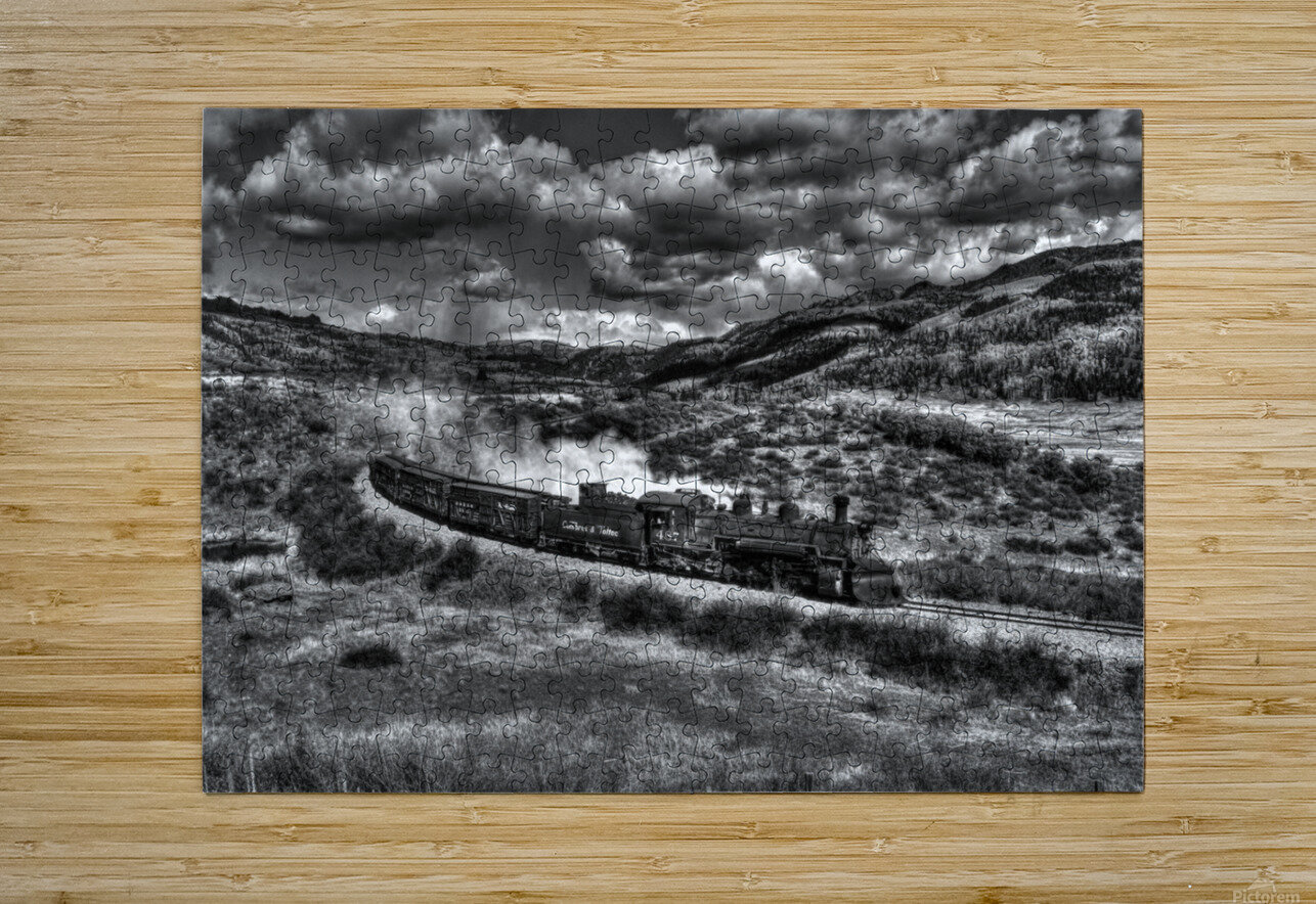 chama freight train B&W  HD Metal print with Floating Frame on Back