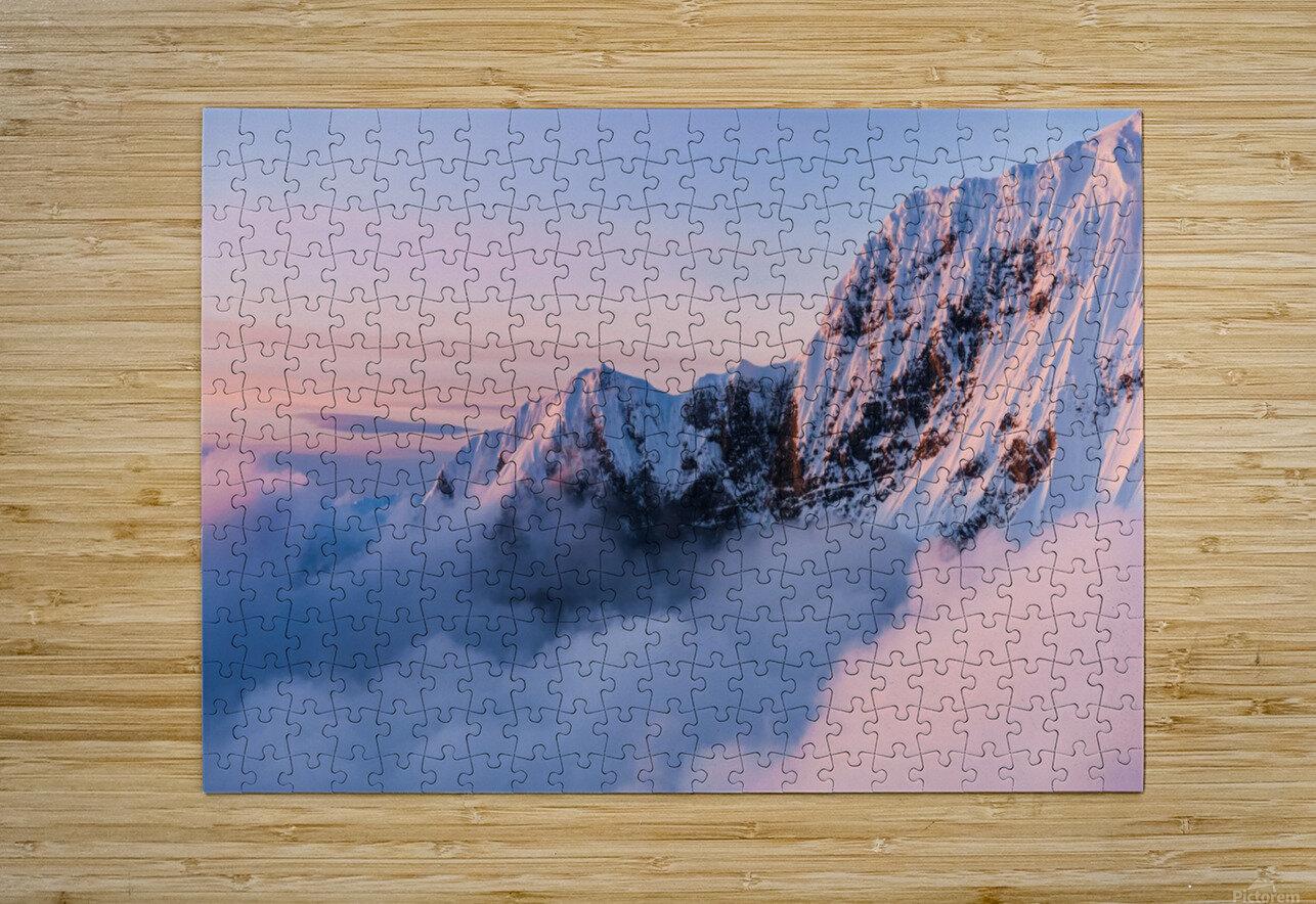Snowy Peaks  HD Metal print with Floating Frame on Back
