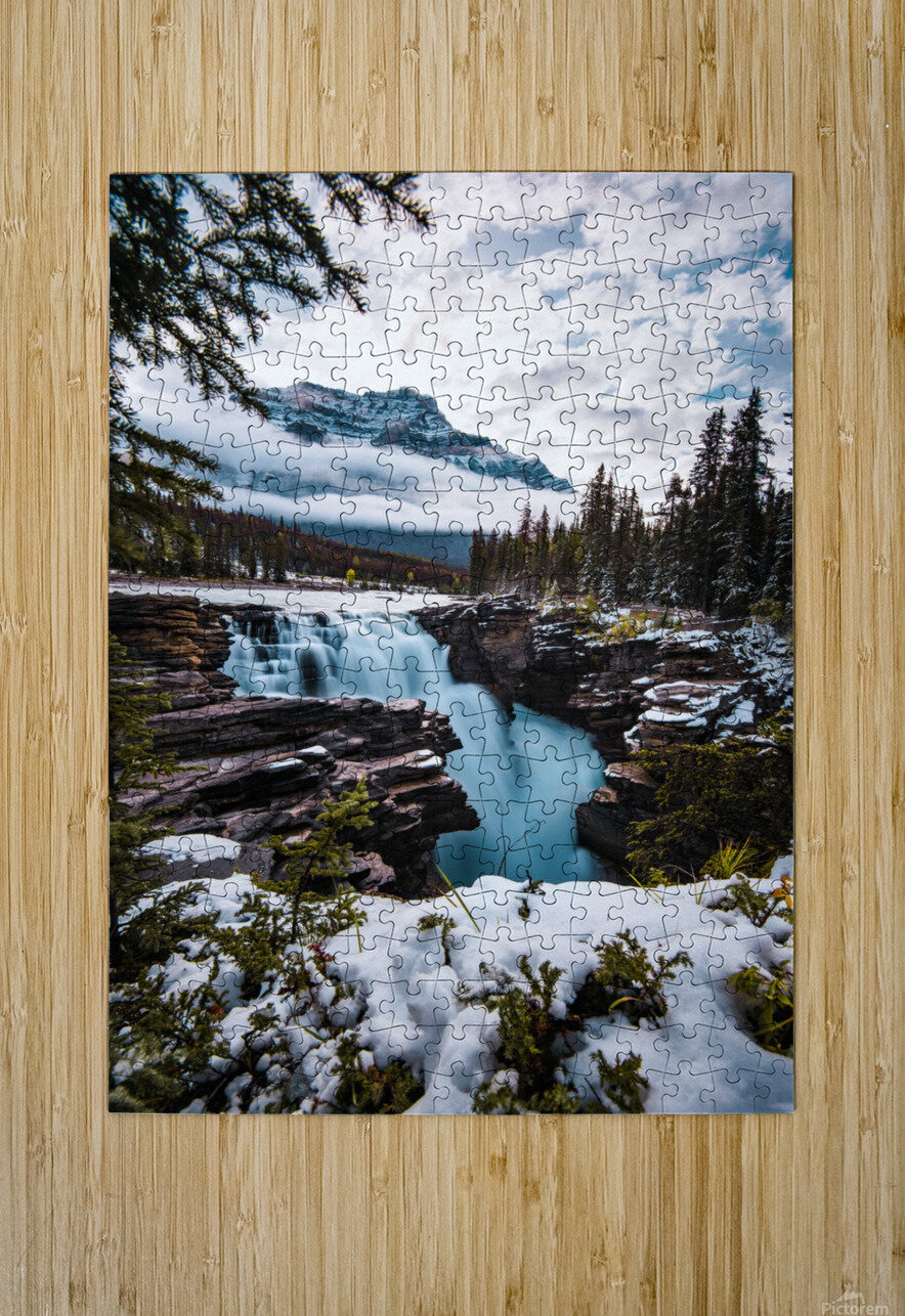 Wintry Waterfall  HD Metal print with Floating Frame on Back