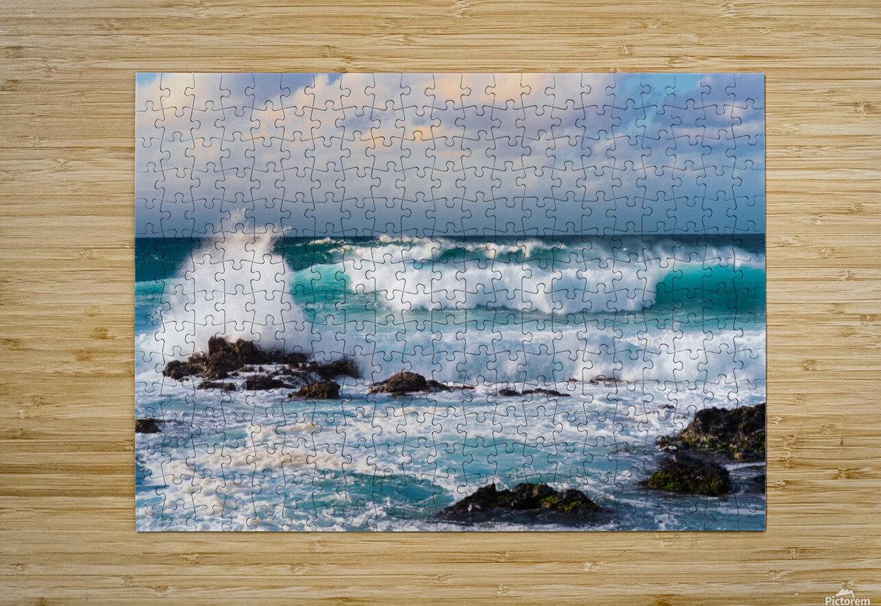 Blue Crash  HD Metal print with Floating Frame on Back