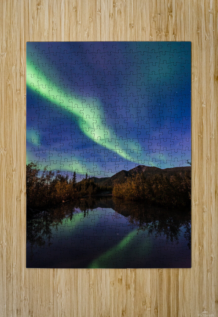 Northern Lights Reflection  HD Metal print with Floating Frame on Back
