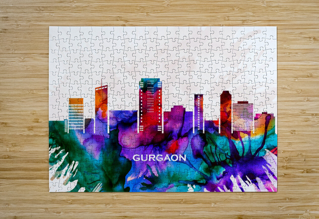 Gurgaon Skyline  HD Metal print with Floating Frame on Back