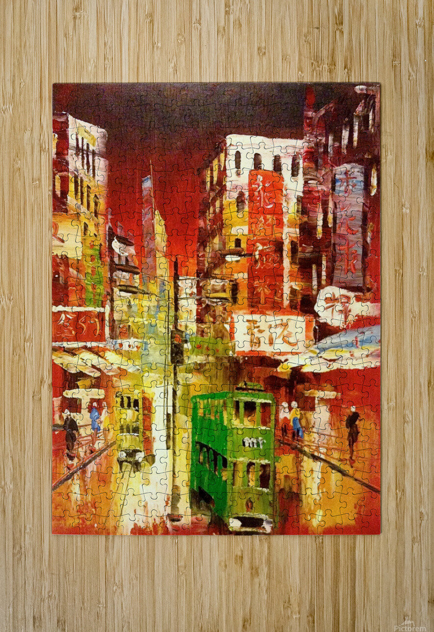 Wanchai Night  HD Metal print with Floating Frame on Back