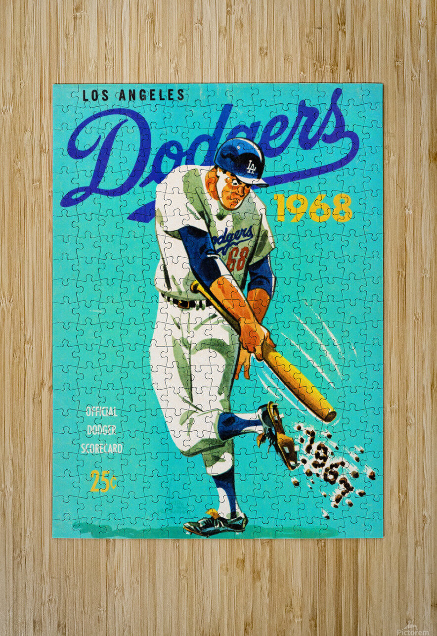 1968 Los Angeles Dodgers Scorecard   HD Metal print with Floating Frame on Back