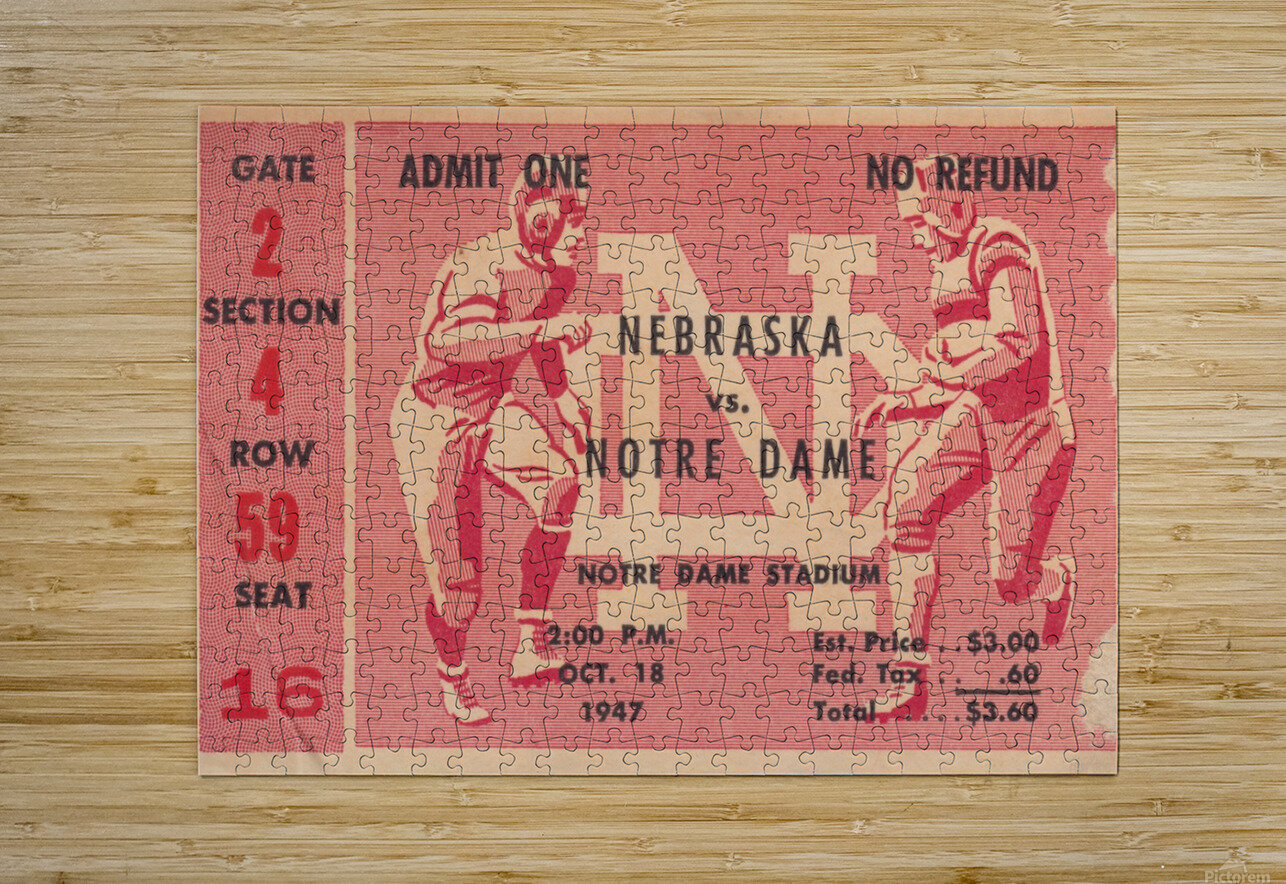 1947 Nebraska vs. Notre Dame  HD Metal print with Floating Frame on Back