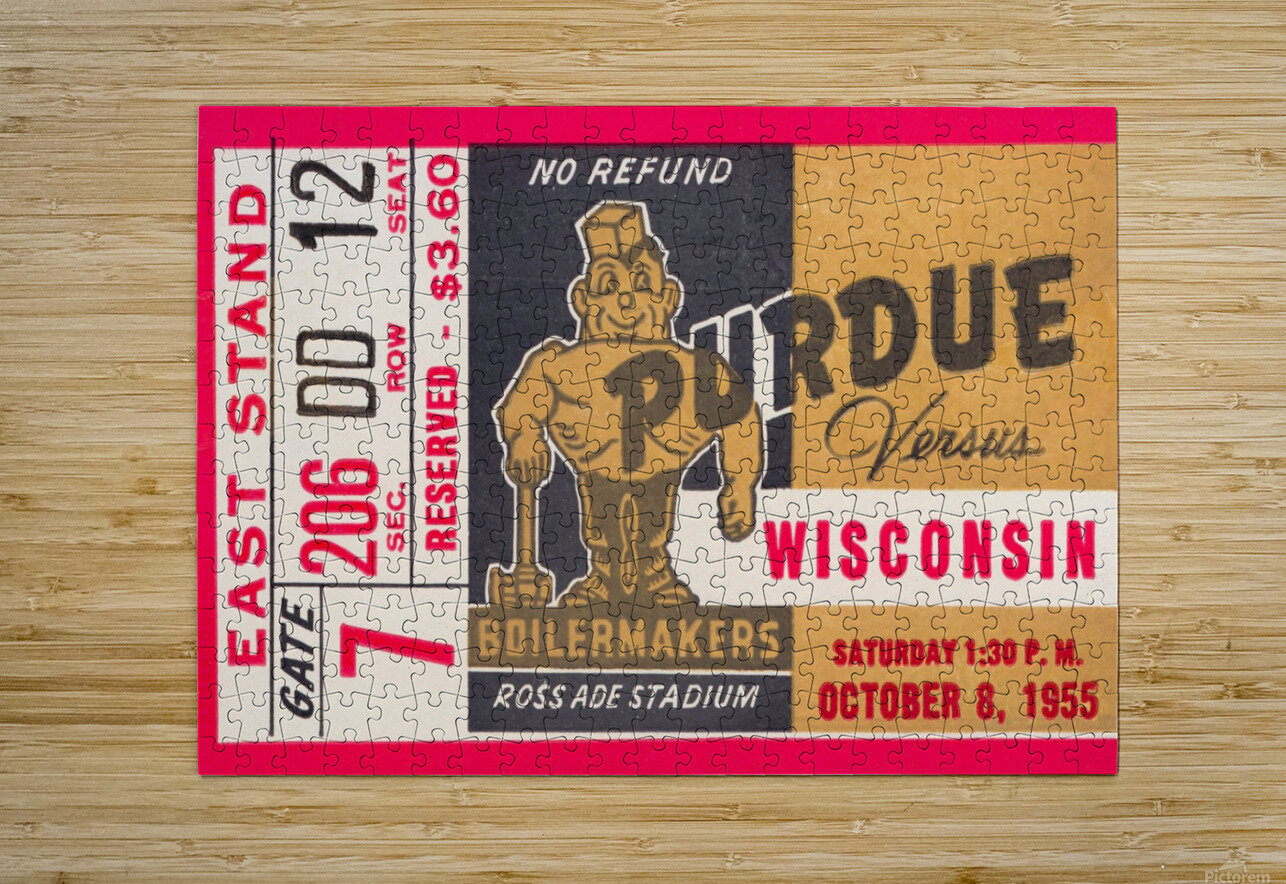 1955 Wisconsin vs. Purdue  HD Metal print with Floating Frame on Back