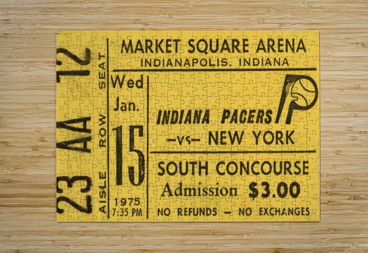 1975_American Basketball Association_New York Nets vs. Indiana Pacers_Market Square Arena_Row One  HD Metal print with Floating Frame on Back