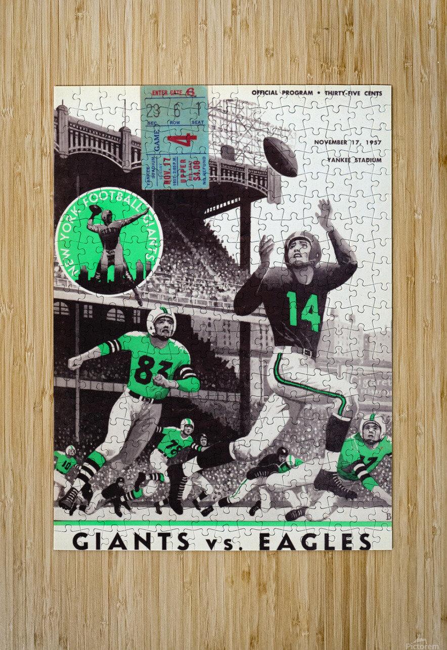1957 New York Giants vs. Eagles Football Program Canvas  HD Metal print with Floating Frame on Back
