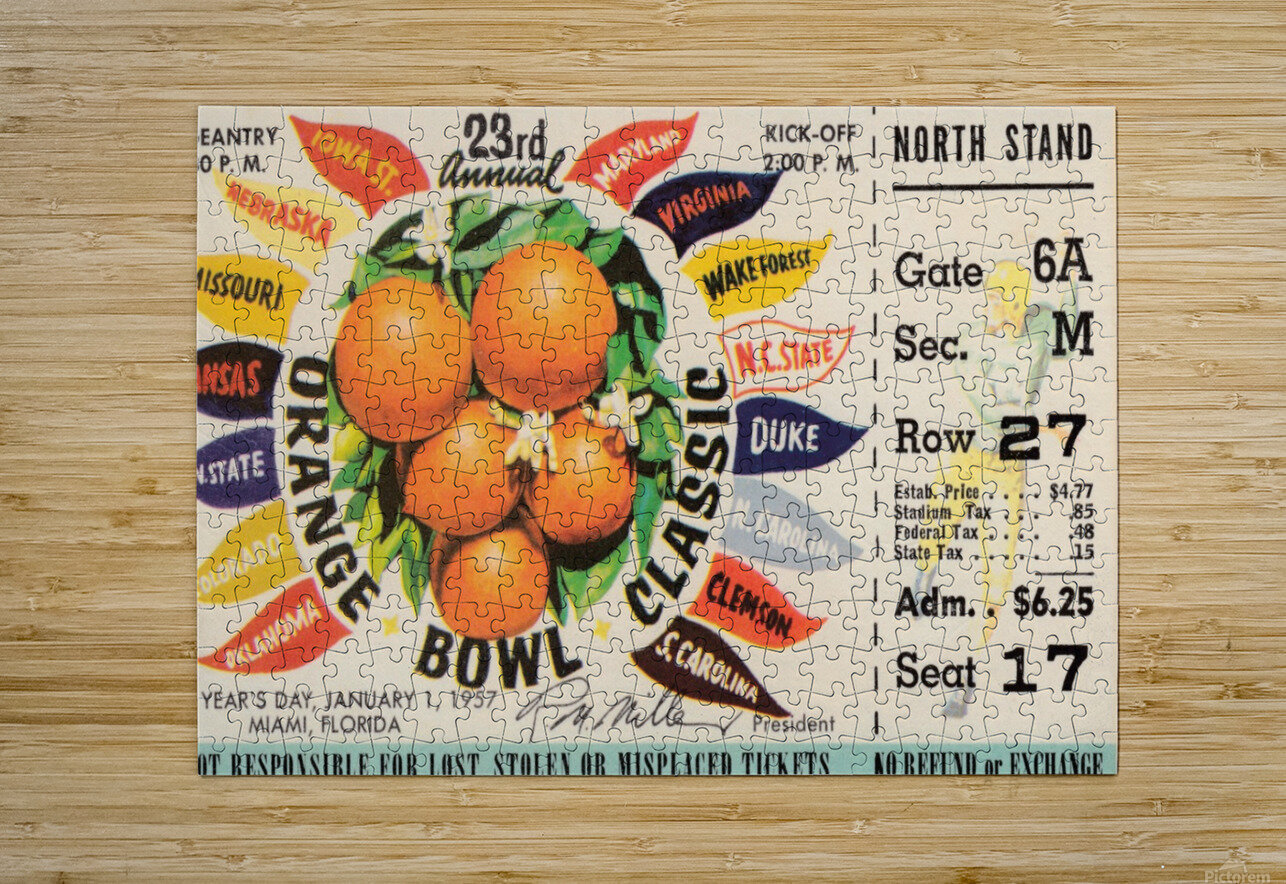 1957 Orange Bowl Ticket Canvas  HD Metal print with Floating Frame on Back