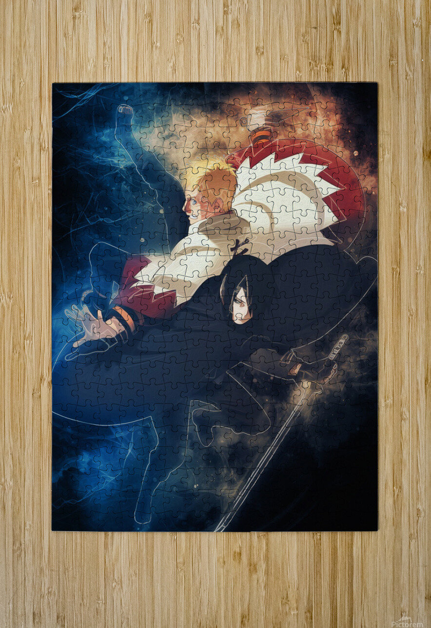 Naruto and Sasuke  HD Metal print with Floating Frame on Back
