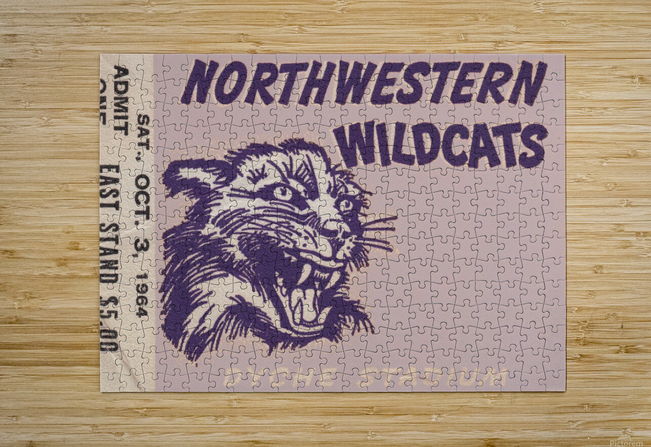 Northwestern University Wildcats College Football Wall Art Ticket Stub  HD Metal print with Floating Frame on Back