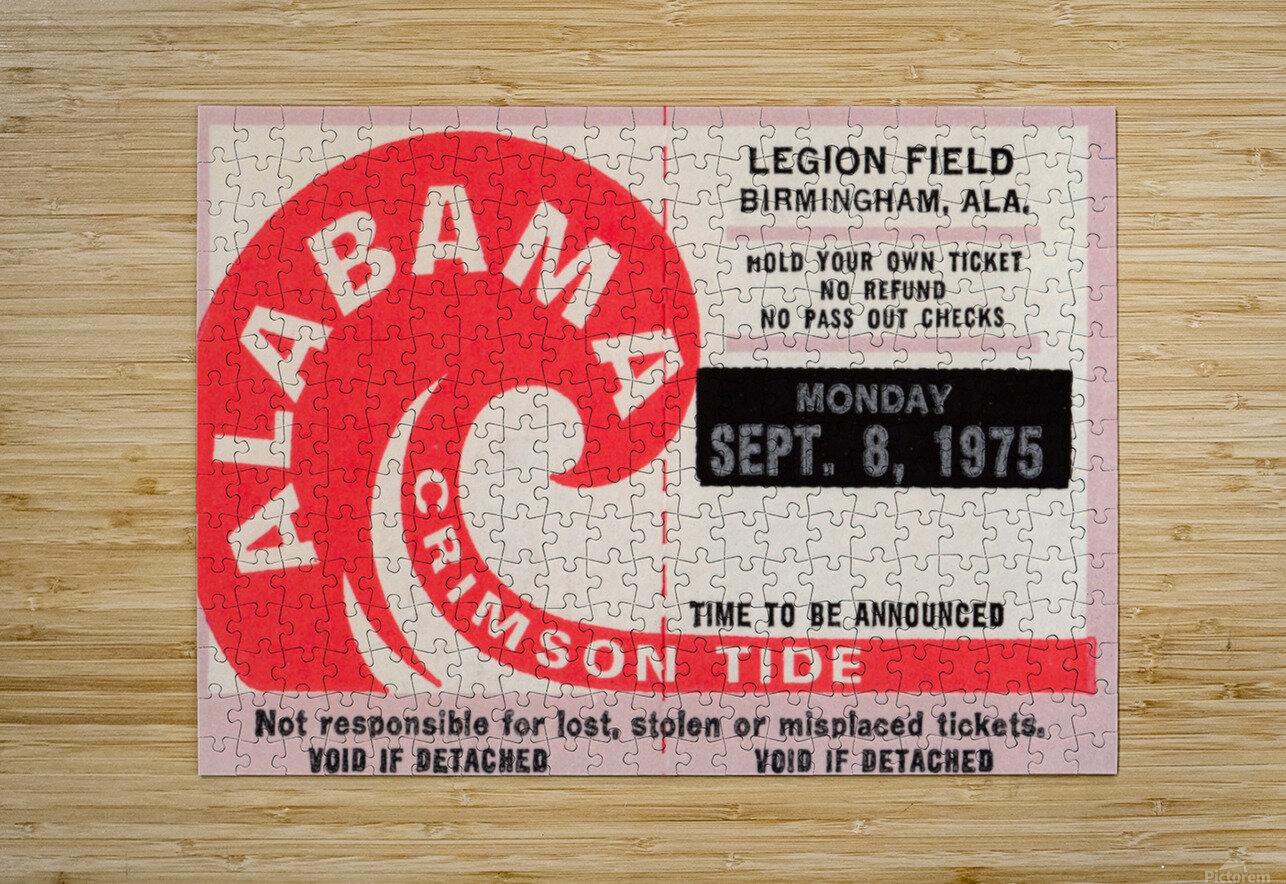 University of Alabama Crimson Tide Football Ticket Stub Art Poster  HD Metal print with Floating Frame on Back