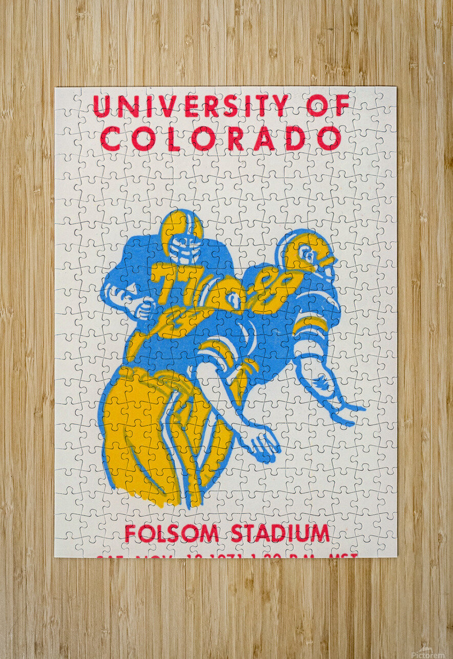 University of Colorado Football Ticket Stub Art Reproduction  HD Metal print with Floating Frame on Back