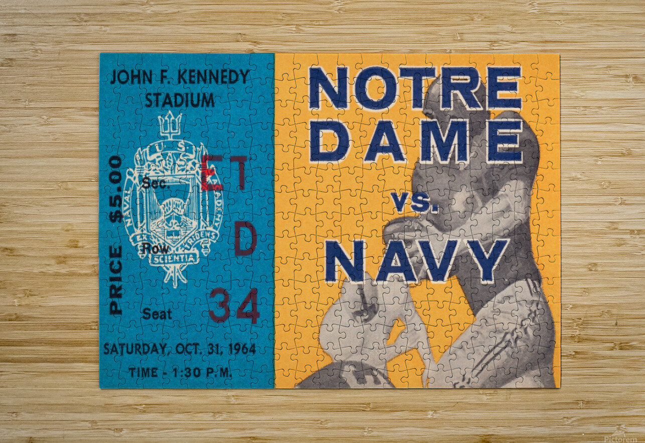 1964 Notre Dame vs. Navy  HD Metal print with Floating Frame on Back