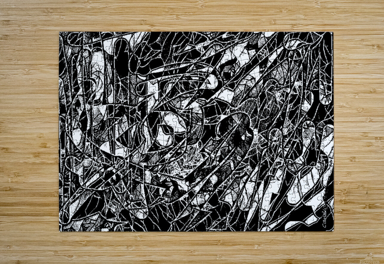 Black & White Art Threshold Texture  HD Metal print with Floating Frame on Back